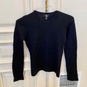 Calvin Klein Women's Black Crew Neck Wool Sweater